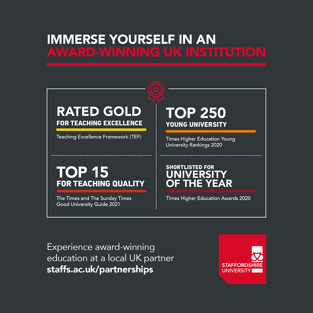 2020-21 Staffordshire University accolade advert for use by UK